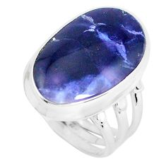 13.24cts natural blue sodalite 925 silver solitaire ring jewelry size 7 d31396