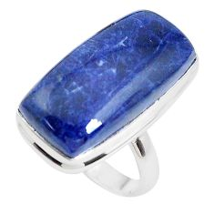 16.70cts natural blue sodalite 925 silver solitaire ring jewelry size 8 p38781