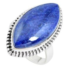 17.13cts natural blue sodalite 925 silver solitaire ring jewelry size 8.5 p38782