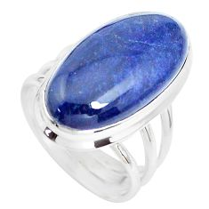 15.97cts natural blue sodalite 925 silver solitaire ring jewelry size 7.5 p38784