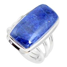 18.15cts natural blue sodalite 925 silver solitaire ring jewelry size 9.5 p38785