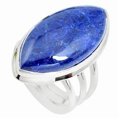 16.65cts natural blue sodalite 925 silver solitaire ring jewelry size 7.5 p38786