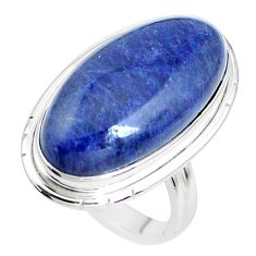 16.15cts natural blue sodalite 925 silver solitaire ring jewelry size 6.5 p38788
