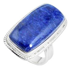 17.18cts natural blue sodalite 925 silver solitaire ring jewelry size 6.5 p38791