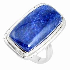 17.69cts natural blue sodalite 925 silver solitaire ring jewelry size 7.5 p38792