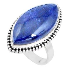 17.69cts natural blue sodalite 925 silver solitaire ring jewelry size 8.5 p38793
