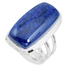 19.00cts natural blue sodalite 925 silver solitaire ring jewelry size 7.5 p38794