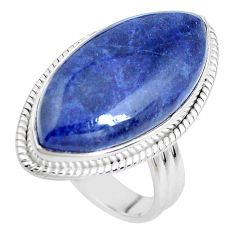 18.15cts natural blue sodalite 925 silver solitaire ring jewelry size 9 p38796