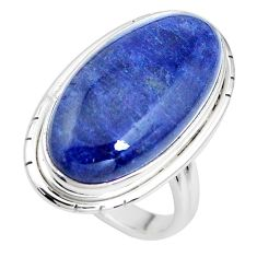 16.70cts natural blue sodalite 925 silver solitaire ring jewelry size 7 p38797