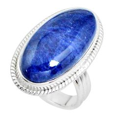 16.70cts natural blue sodalite 925 silver solitaire ring jewelry size 7.5 p38798
