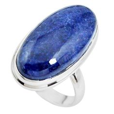 13.41cts natural blue sodalite 925 silver solitaire ring jewelry size 7 p38800