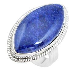 16.17cts natural blue sodalite 925 silver solitaire ring jewelry size 6.5 p38839