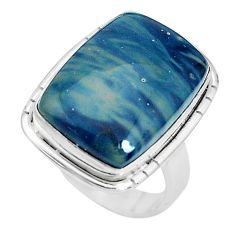 14.23cts natural blue swedish slag 925 silver solitaire ring size 8 p32955