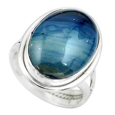 14.26cts natural blue swedish slag 925 silver solitaire ring size 6.5 p61421