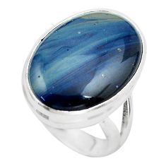 14.23cts natural blue swedish slag 925 silver solitaire ring size 5.5 p61429