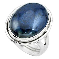 15.44cts natural blue swedish slag 925 silver solitaire ring size 7.5 p61437