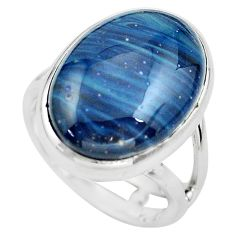 14.14cts natural blue swedish slag 925 silver solitaire ring size 6 p61439