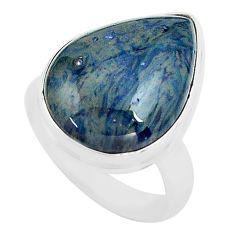 14.72cts natural blue swedish slag 925 silver solitaire ring size 7 p80725