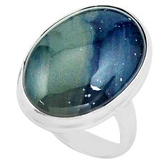 14.40cts natural blue swedish slag 925 silver solitaire ring size 6.5 p80727
