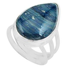 15.02cts natural blue swedish slag 925 silver solitaire ring size 6.5 p80735