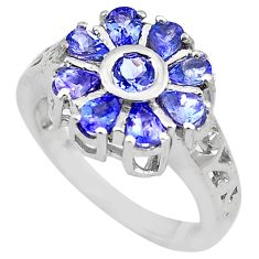 5.01cts natural blue tanzanite 925 sterling silver ring jewelry size 7.5 c4293