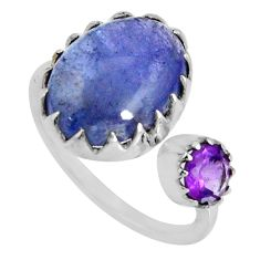 6.03cts natural blue tanzanite amethyst 925 silver adjustable ring size 8 d32616