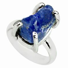9.72cts natural blue tanzanite rough 925 silver solitaire ring size 7 p79791