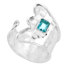 0.87cts natural blue topaz 925 silver adjustable solitaire ring size 8.5 p53006