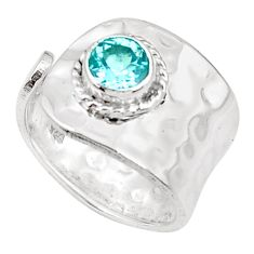 1.40cts natural blue topaz 925 silver solitaire adjustable ring size 5.5 p49709