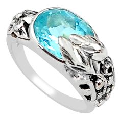 4.21cts natural blue topaz 925 silver solitaire flower ring size 6 p81638
