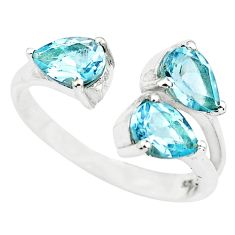 4.18cts natural blue topaz 925 sterling silver adjustable ring size 7 p73393