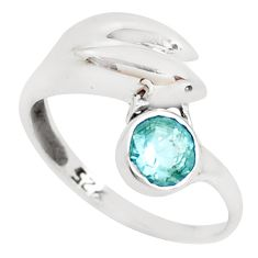 0.90cts natural blue topaz 925 sterling silver dolphin ring size 9 p39182