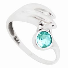 0.99cts natural blue topaz 925 sterling silver dolphin ring size 6 p39184