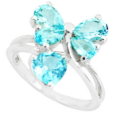 5.54cts natural blue topaz 925 sterling silver ring jewelry size 5.5 p37361
