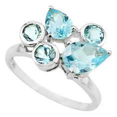 5.84cts natural blue topaz 925 sterling silver ring jewelry size 6.5 p62166