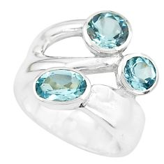 3.94cts natural blue topaz 925 sterling silver ring jewelry size 6.5 p62332