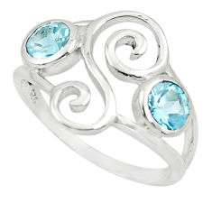 1.95cts natural blue topaz 925 sterling silver ring jewelry size 5.5 p62585
