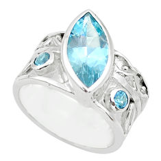 7.82cts natural blue topaz 925 sterling silver ring jewelry size 7.5 p62678