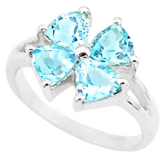 3.65cts natural blue topaz 925 sterling silver ring jewelry size 5.5 p73365