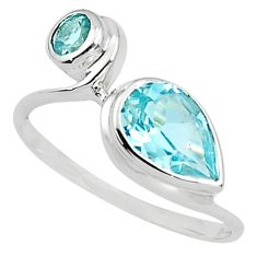 2.98cts natural blue topaz 925 sterling silver ring jewelry size 7.5 p81513