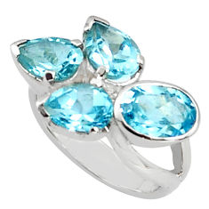6.83cts natural blue topaz 925 sterling silver ring jewelry size 5.5 p81655