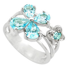 5.96cts natural blue topaz 925 sterling silver ring jewelry size 8.5 p82829