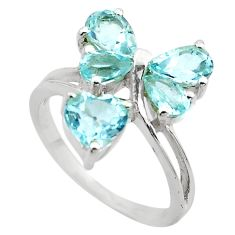 4.52cts natural blue topaz 925 sterling silver ring jewelry size 5.5 p83100