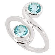 1.84cts natural blue topaz 925 sterling silver ring jewelry size 5.5 p83209