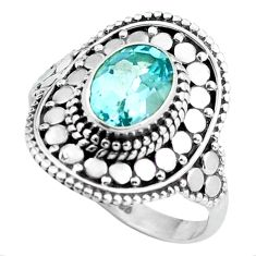 Clearance Sale- 2.14cts natural blue topaz 925 sterling silver solitaire ring size 7 d32006
