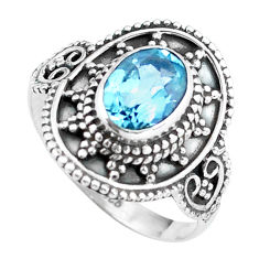 Clearance Sale- 2.19cts natural blue topaz 925 sterling silver solitaire ring size 7.5 d32022