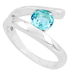 1.00cts natural blue topaz 925 sterling silver solitaire ring size 7.5 p36868