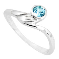 0.57cts natural blue topaz 925 sterling silver solitaire ring size 8.5 p36897