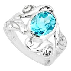 3.28cts natural blue topaz 925 sterling silver solitaire ring size 6.5 p36941