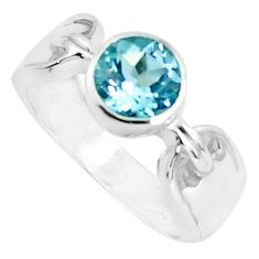 2.69cts natural blue topaz 925 sterling silver solitaire ring size 7.5 p37044